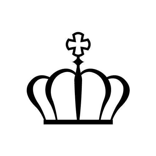 十字架をあしらえたシンプルな王冠のイラスト
