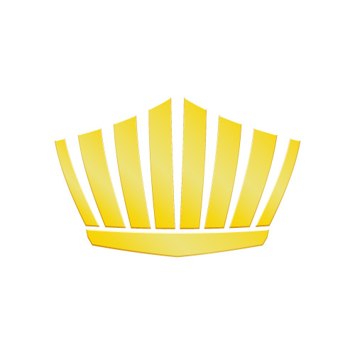 ゴールドに輝く王冠シルエットのイラスト