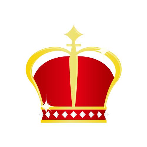 金と赤の艶やかな冠イラスト素材