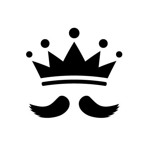 王様のような立派な髭と王冠のシルエットイラスト素材
