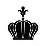 百合の紋章が飾られた王冠のシルエットイラスト素材