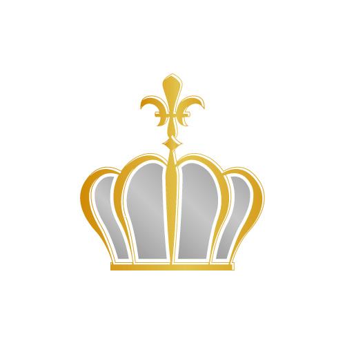金色に輝く百合の紋章が飾られた王冠のイラスト