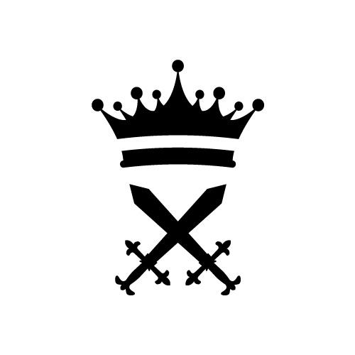 王冠と剣のシルエットイラストセット