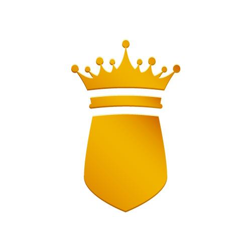 金色に輝く王冠と盾のアイコン素材