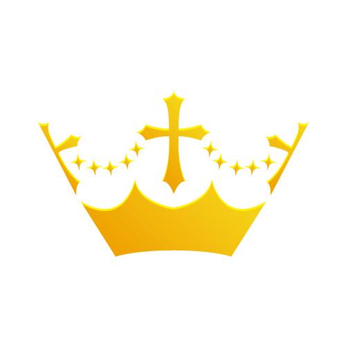 金色に輝く王冠イラストアイコン