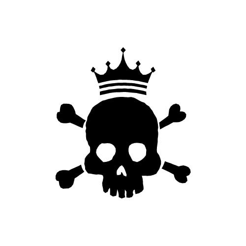 ドクロと王冠のイラストアイコン素材