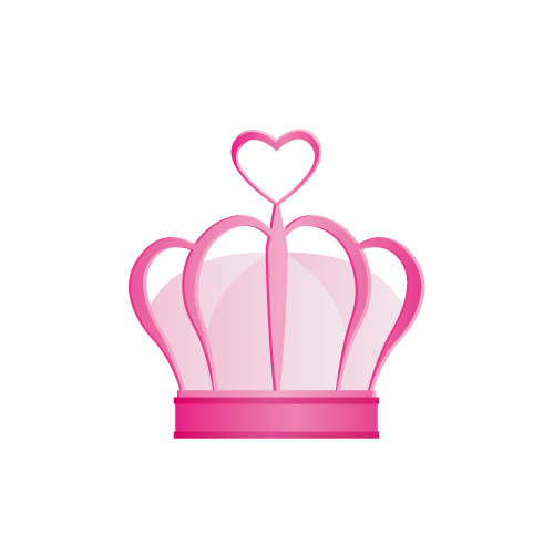 ピンクのハートが飾られた王冠イラスト