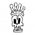 王冠とドクロのラフな手描きイラスト